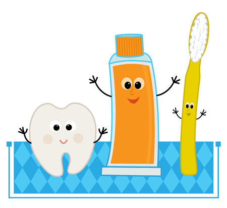 Cute cartoon illustration of dental elements.