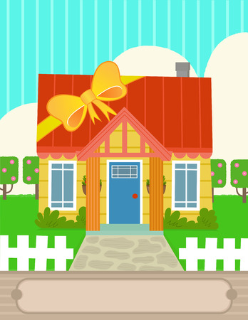 Cute design of house with a ribbon wrapped around it and a blank sign at the bottom. Eps10