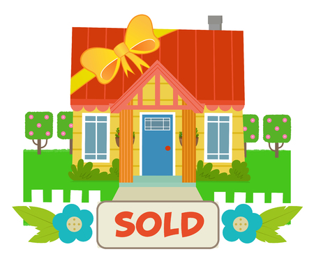 Cute house with a ribbon wrapped around it and a sold sign. Eps10