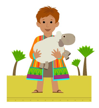 Joseph with his colorful coat holding a sheep in his arms.