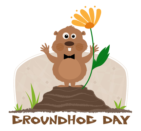 "Happy groundhog is standing on a mound next to a flower and a ""groundhog day"" title under it. Eps10  イラスト・ベクター素材"