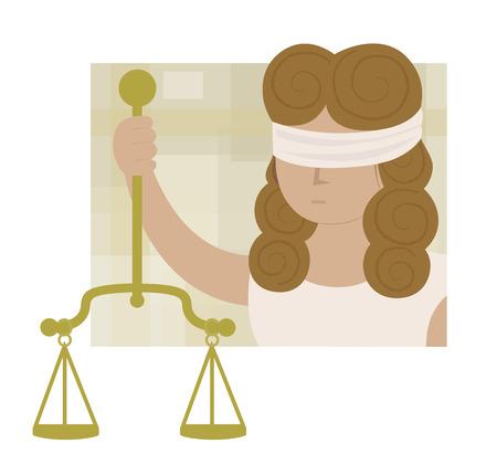 Clip art of blindfolded Lady justice holding scales. Eps10 Ilustração