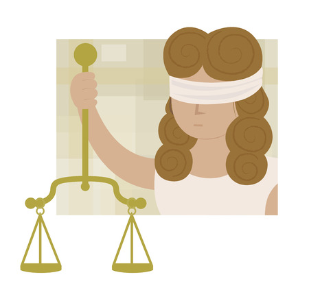 Clip art of blindfolded Lady justice holding scales. Eps10 Illustration
