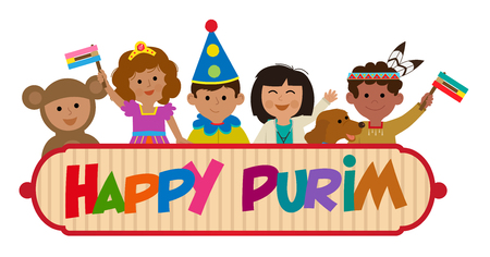 Happy Purim banner with kids wearing costumes. Eps10 Çizim