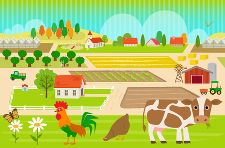 Colorful, farmland pattern with cow, hen and rooster.