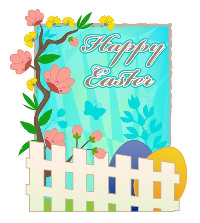 Happy Easter card with blooming flowers, picket fence and Easter eggs. Çizim