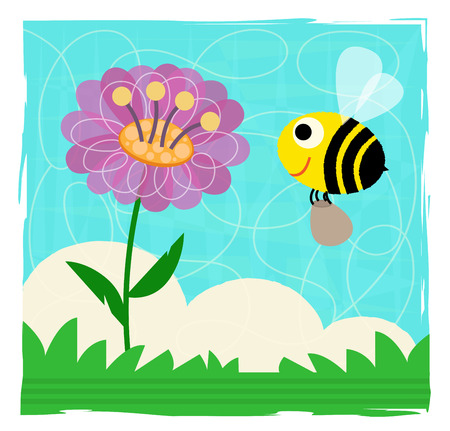Cute spring clip-art of a bee and flower.