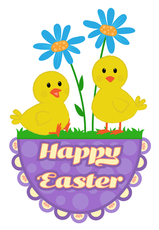Cute Easter greeting design of chicks and flowers on top of a Happy Easter sign.