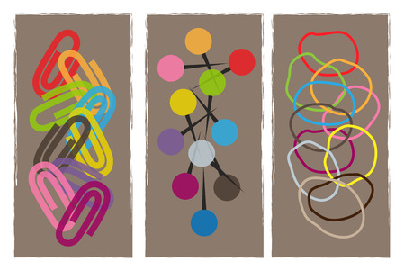 Colorful design of office paper clips, pins and rubber bands. Çizim