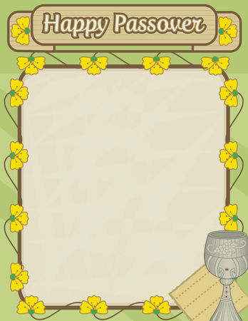 Happy Passover decorative blank sign with flowers and Passover symbols.