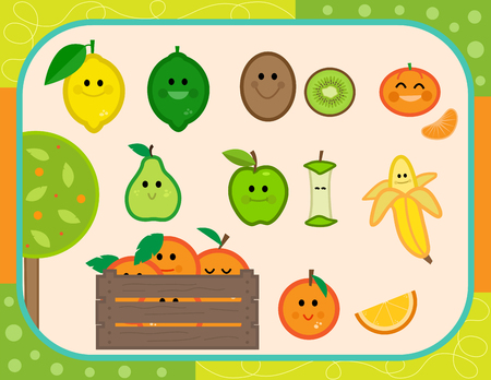 Cute vector set of nine smiling fruits. Çizim