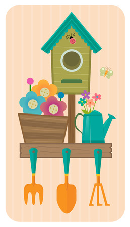 Clip-art of a birdhouse, flowers and gardening tools. Çizim