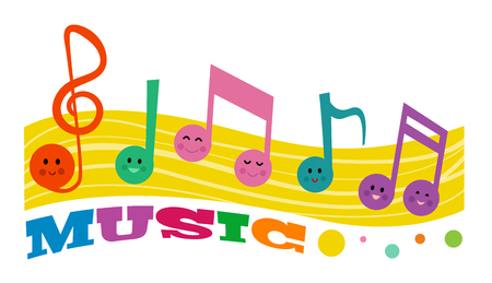 Colorful clip-art of smiling music notes.