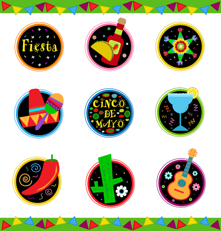 Nine colorful Mexican celebration icons. Çizim