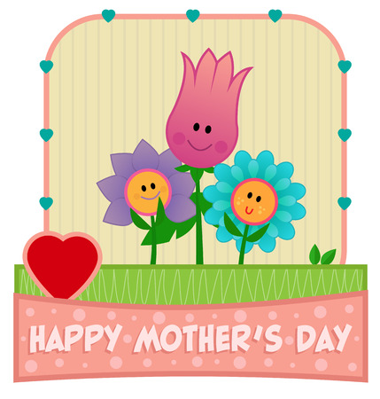 Happy Mother's Day clip-art with mother flower and her two children.