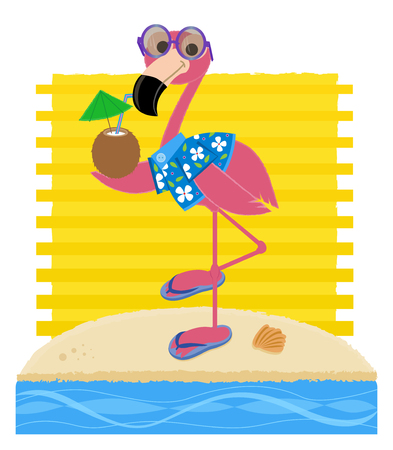 Flamingo wearing sunglasses, Hawaiian shirt and flip flops while holding a coconut drink and standing on a sandy beach. Illustration