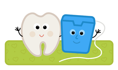 Cute clip-art of a happy tooth and floss standing together. Çizim