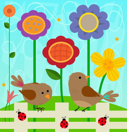 Spring clip-art of two birds and ladybugs standing on a fence, and colorful flowers behind them. Çizim