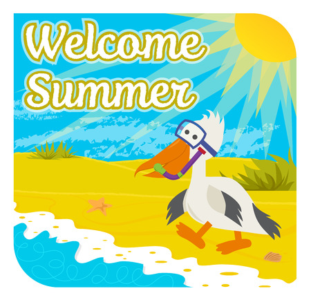 Cute welcome summer sign of a a happy pelican with snorkel at the beach. Eps10.