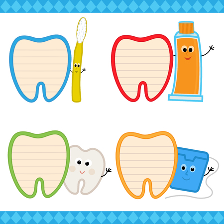 Set of four cartoon dental signs. Eps10. Çizim