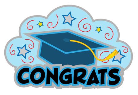 Graduation clip-art of a cap and the word congrats under it. Eps10