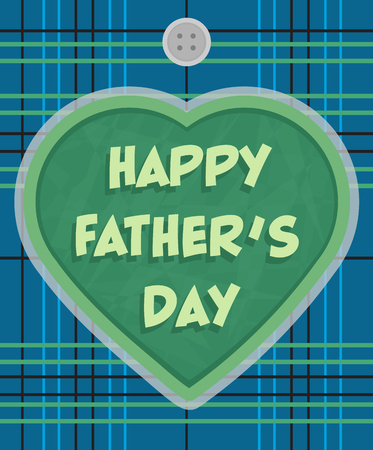 "Father's Day greeting card design with a plaid background and a heart with ""happy father's day"" text in the center. Eps10"