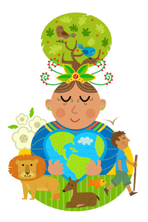 Conceptual Illustration of mother earth hugging a heart shaped earth with some of the animals that inhabitant. Çizim