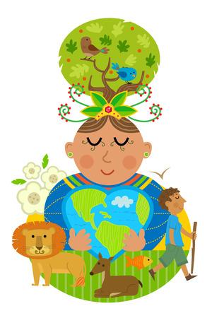 Conceptuele illustratie van moeder aarde knuffelen een hartvormige aarde met enkele van de dieren die bewoner. Vector Illustratie