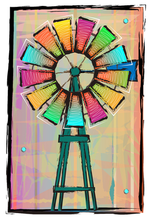 Colorful windmill on an abstract background.