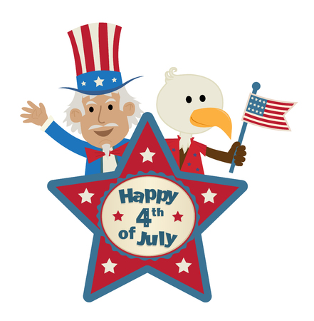 Fourth of July star shaped sign with uncle Sam and cute eagle holding the American flag.