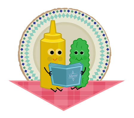 Cute clip art of pickle and mustard sitting on a tablecloth and holding a menu. Eps10 Çizim