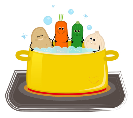 Group of cute veggies are sitting in a boiling water. Eps10