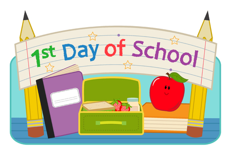 "Back to school clip-art with lunchbox, notebook, apple and banner that says ""First day of school"". Eps10"