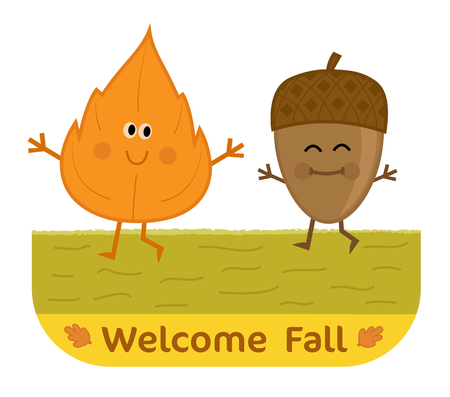 Cute welcome fall clip-art with happy leaf and acorn. Eps10 Çizim