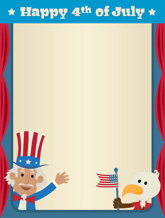 Festive fourth of July blank sign with uncle Sam and patriotic eagle. Eps10 Çizim