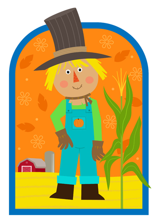 Cute cartoon scarecrow standing in a field with a barn in the background. Eps10 Çizim