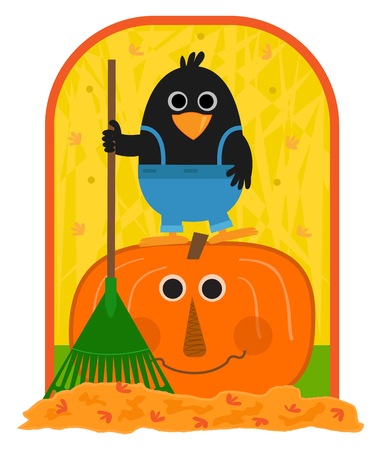 Cute clip-art of a crow holding a rake and standing on a smiling pumpkin. Eps10
