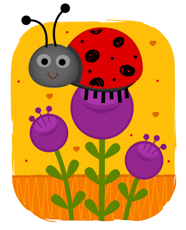 Clip-art of a cute ladybug standing on a purple flower. Eps10 Çizim