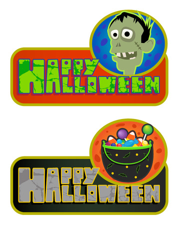 Two Happy Halloween signs with zombie and a bowl with candies. Eps10