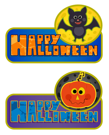 Two Happy Halloween signs with cute bat and Jack o lantern. Eps10 Çizim