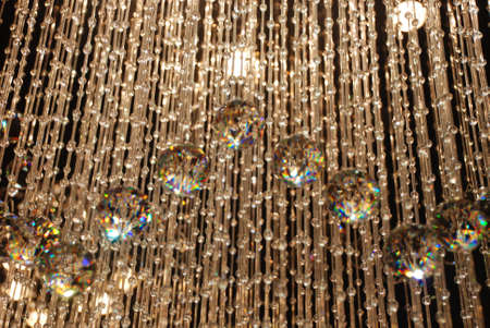Chandelier with geometric light show photo