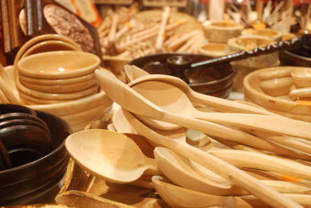 giftware: handmade wooden spoon by craftsman Stock Photo