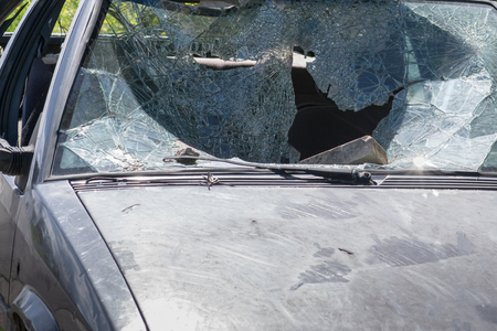 wrecked: Car windscreen broken. Old and Wrecked car.