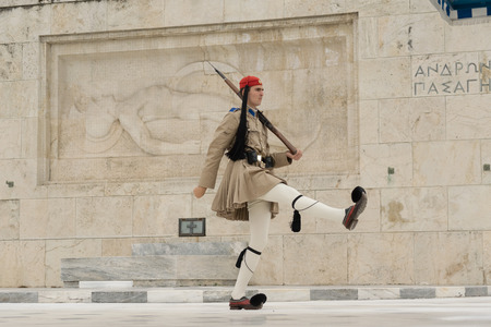 evzone: Athens, Greece, 30 May 2015. Evzone walking and guarding the parliament of Greece in Sintagma. Editorial