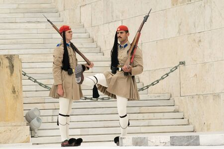 ceremonial clothing: Athens, Greece, 30 May 2015. Evzones guard change in front of parliament of Greece.