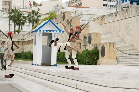evzones guard: Athens, Greece, 30 May 2015. Evzones guard change in front of parliament of Greece.