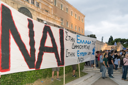 referendum: Athens, Greece, 30 June 2015. Greek people demonstrated against the government about the upcoming referendum. People in the demonstration are in favor of voting yes in the referendum. Editorial