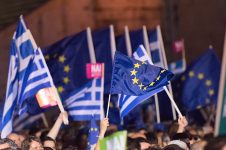 Athens, Greece, 3 July 2015. The mayor of Athens, Greek celebrities and people from all around Greece were gathered at Kallimarmaro stadium to demonstrate against the upcoming referendum. All protesters in the demonstration are in favor of voting YES in t