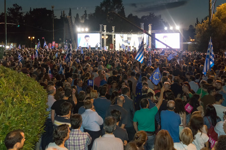 upcoming: Athens, Greece, 3 July 2015. The mayor of Athens, Greek celebrities and people from all around Greece were gathered at Kallimarmaro stadium to demonstrate against the upcoming referendum. All protesters in the demonstration are in favor of voting YES in t