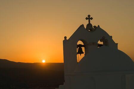 trulli: Silhouette of church Saint Antony in Paros island against the sunset.